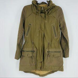 Zara Basic Olive Khaki Utility Outdoors Jacket